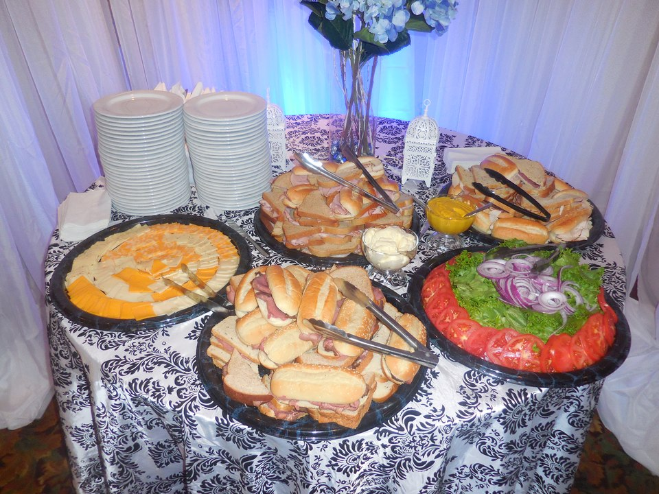 A luncheon spread awaits for the celebration.